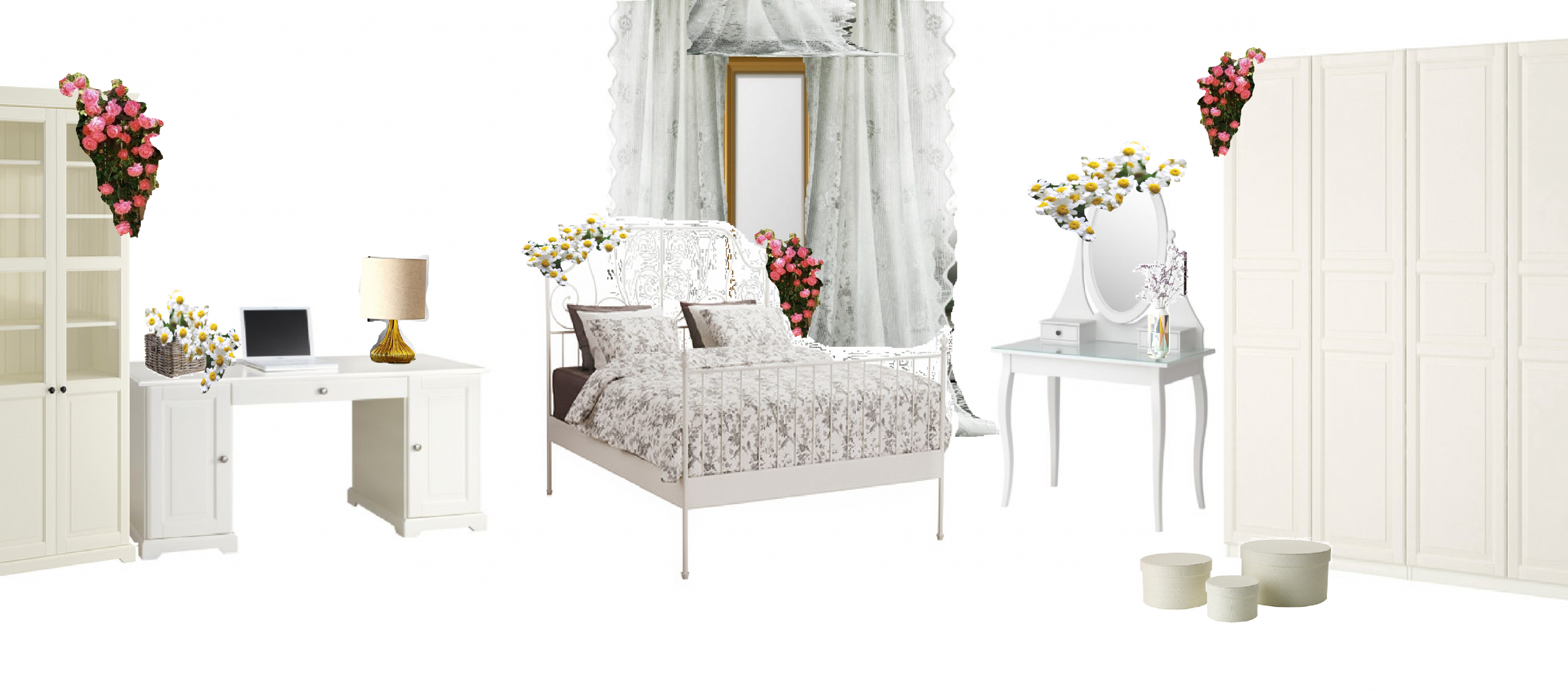 Collage of a room, styled in PHR style